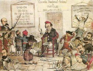 """Reivindicaciones de algunos de los personajes de este Sexenio """"revolucionario"""", caricatura del siglo XIX recogida por paperblog.com"""