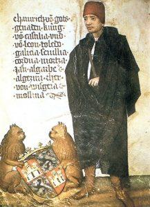 Enrique IV de Castilla, en cuyo reinado se instaló la primera ceca de Madrid. (Miniatura de un manuscrito de Jörg von Ehingehn, de mediados del siglo XV).