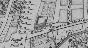 """Detalle del plano de Madrid de Nicolás de Fer (1706), en el que puede verse el edificio del Pósito de la Villa, rotulado como """"Casa Nueva de la Moneda"""". En este lugar en que se construirá, ya en el siglo XIX, el Palacio de Linares."""