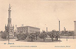 La Casa de la Moneda, en la plaza de Colón. Tarjeta postal de principios el siglo XX. (Col. del autor).