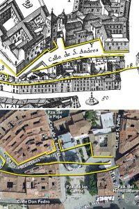 Plano Texeira y actual Casas Pedro Laso de Castilla