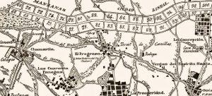 """FIG 1: La Ciudad Lineal fue surgiendo en la Regencia y en la época de mayoría de edad de Alfonso XIII como un intento de colonizar, de manera ordenada, los campos pertenecientes a municipios todavía independientes, pero que estaban bordeando ya el término de la capital, por lo que a pesar de no pertenecer oficialmente al """"Extrarradio"""" de Madrid-ciudad, en la práctica lo eran, y la población que se iba asentando allí lo hacía para trabajar en la capital, y no en Chamartín-pueblo o en Canillas-pueblo. Fue una iniciativa que proporcionó vivienda a muchas personas, en una zona aireada e higiénica, y de la calidad de la idea es una prueba el hecho de que en parte se construyera como un plan de """"casas para obreros"""" y ahora sea una de las zonas más cotizadas de todo Madrid. Plano perteneciente, probablemente, al salto del siglo XIX al XX."""
