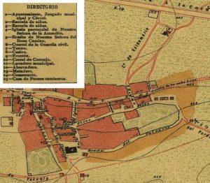 Un recuerdo al casco viejo de Aravaca, tal como aparecía en el plano de Facundo Cañada de 1900.