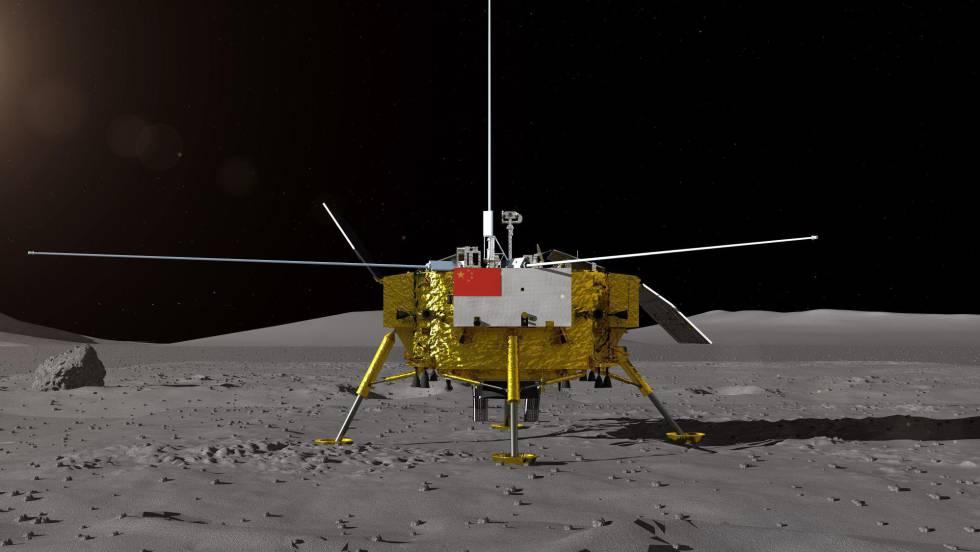 Infografía que representa la sonda Chang'e 4 posada sobre la superficie lunar. Procedencia: CNSA, Administración Nacional del Espacio de China.