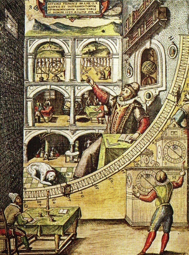 Grabado antiguo que representa a Tycho Brahe trabajando en su observatorio primitivo.
